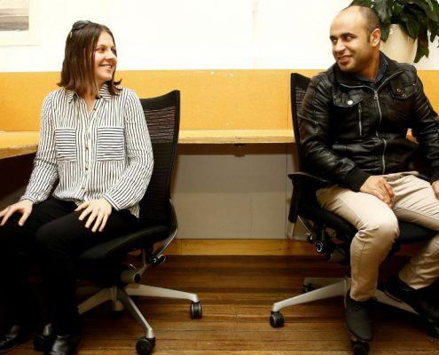 L to R: Anna Robson with Syrian refugee, Nirary Dacho have started a new Refugee Intern program. Picture: John Appleyard